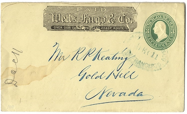 Nice Postally Used Wells Fargo Cover with San Francisco Cancellation