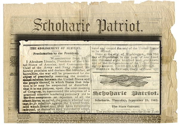 Preliminary Emancipation Proclamation Printing in Newspaper