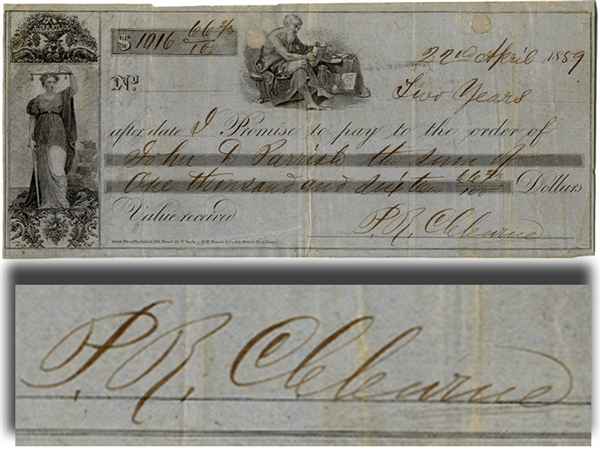 Confederate General Patrick Cleburne Signed Check