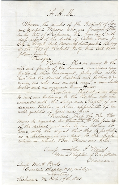 Rare Free Masons Resolutions for a Fellow Soldier By these Prisoners of War in Richmond