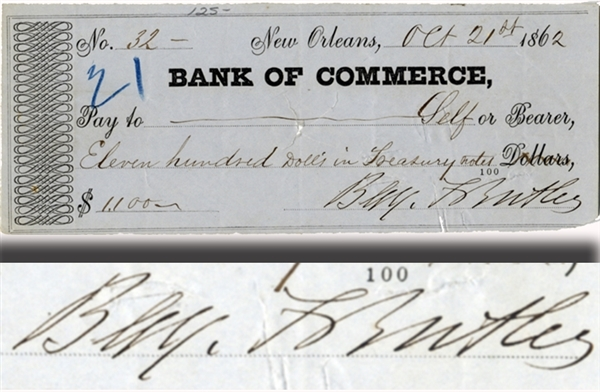 General Benjamin Butler Pays Himself $1100 from a New Orleans Bank Account
