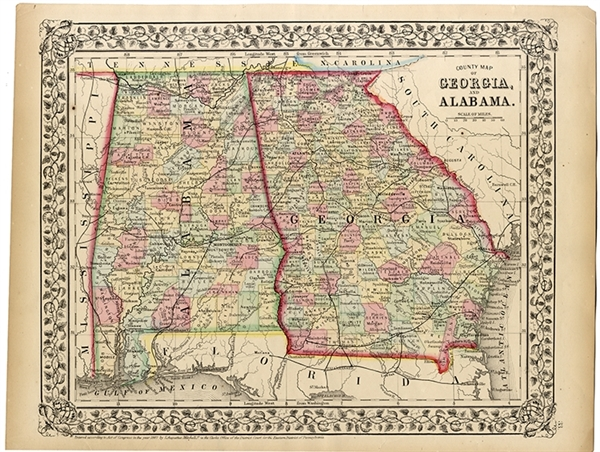 1867 Mitchell Map of Alabama & Georgia