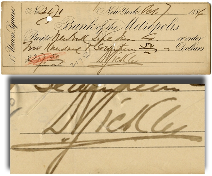 Union General Dan Sickles Signed Check