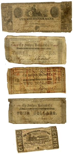Group of FIVE Confederate Notes