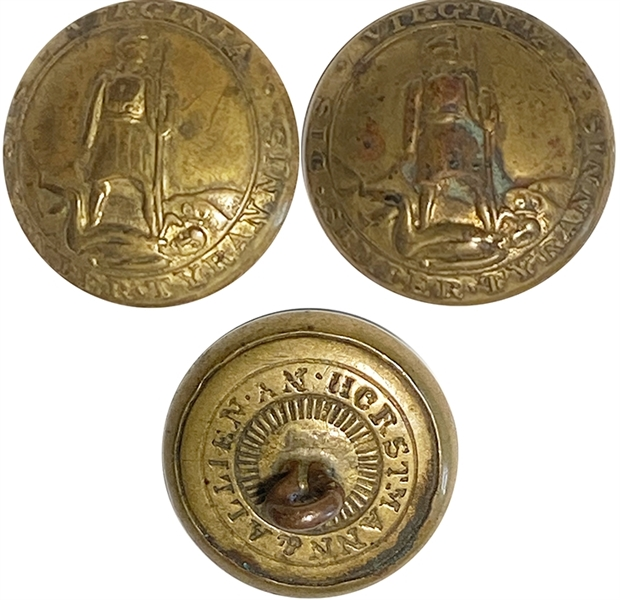 Pair of War-date Confederate State of Virginia Button