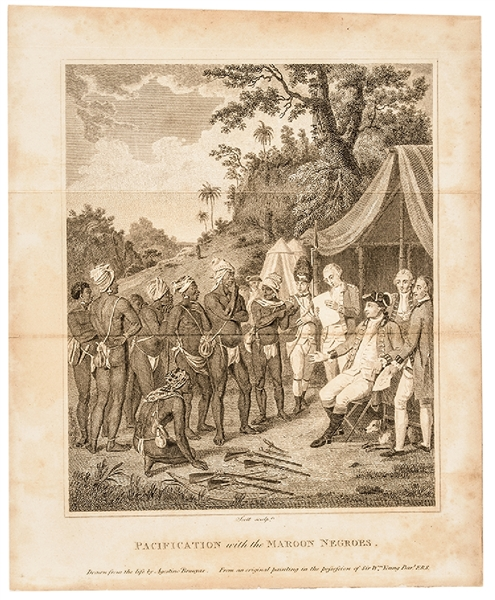 "c. 1800 Engraving, ""Pacification with the Maroon Negroes."""