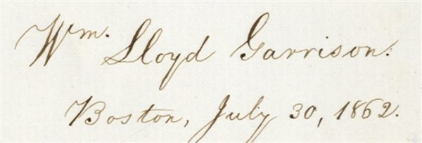 The Autograph of William Lloyd Garrison