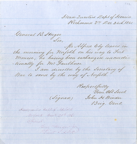Information on Honorable Ely's Release - Issued by the Authority of General Winder