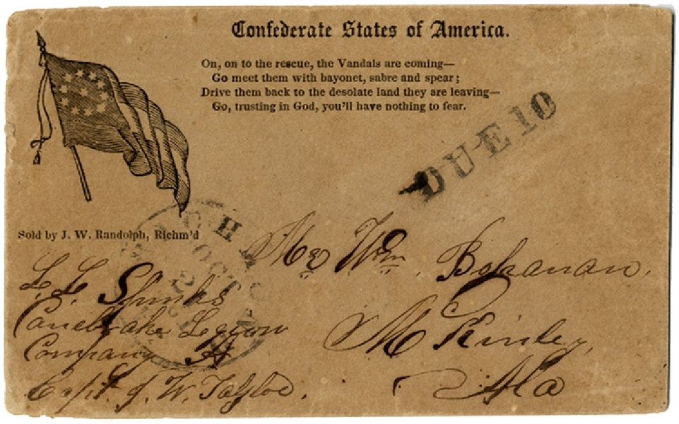Confederate 11 Star First National Postally Used Cover