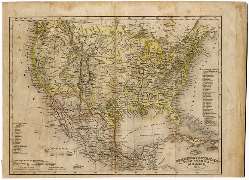1852 Meyer Map of the United States and Mexico