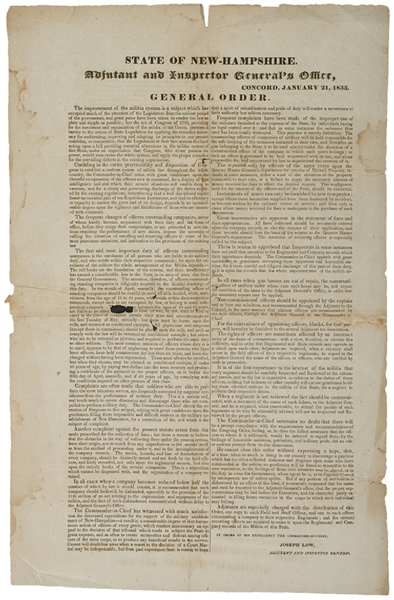 1833 Printed Broadside for State of New Hampshire Military Militia Orders