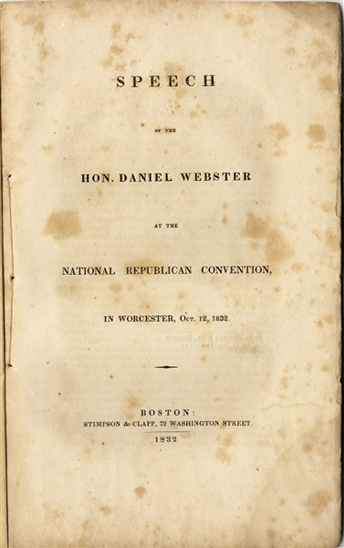 Daniel Webster Speech Before the National Republican Convention