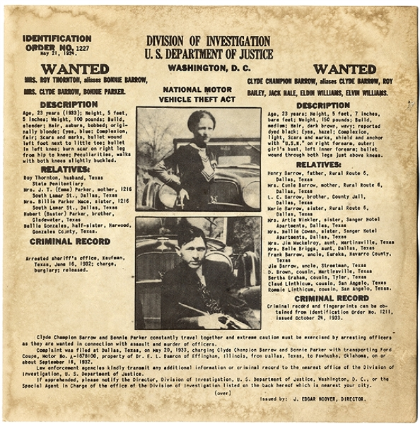 Bonnie and Clyde Wanted by the J. Edgar Hoover and the FBI