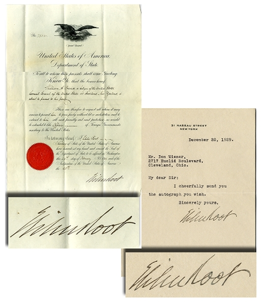 Two Elihu Root Signed Documents