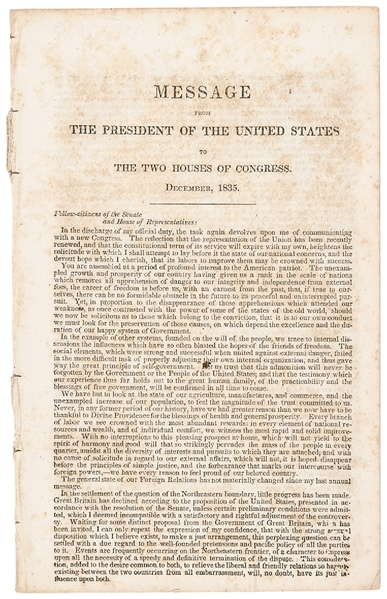 Andrew Jacksons December 1835 State of the Union Address to Congress