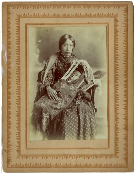 Kaw Squaw and Papoose Albumen Photograph