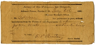 Very Rare Confederate Army of the Potomac Fairfax Court House Pass
