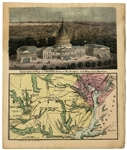 Tinted Illustrated topographical map and view of the US Capitol by Magnus
